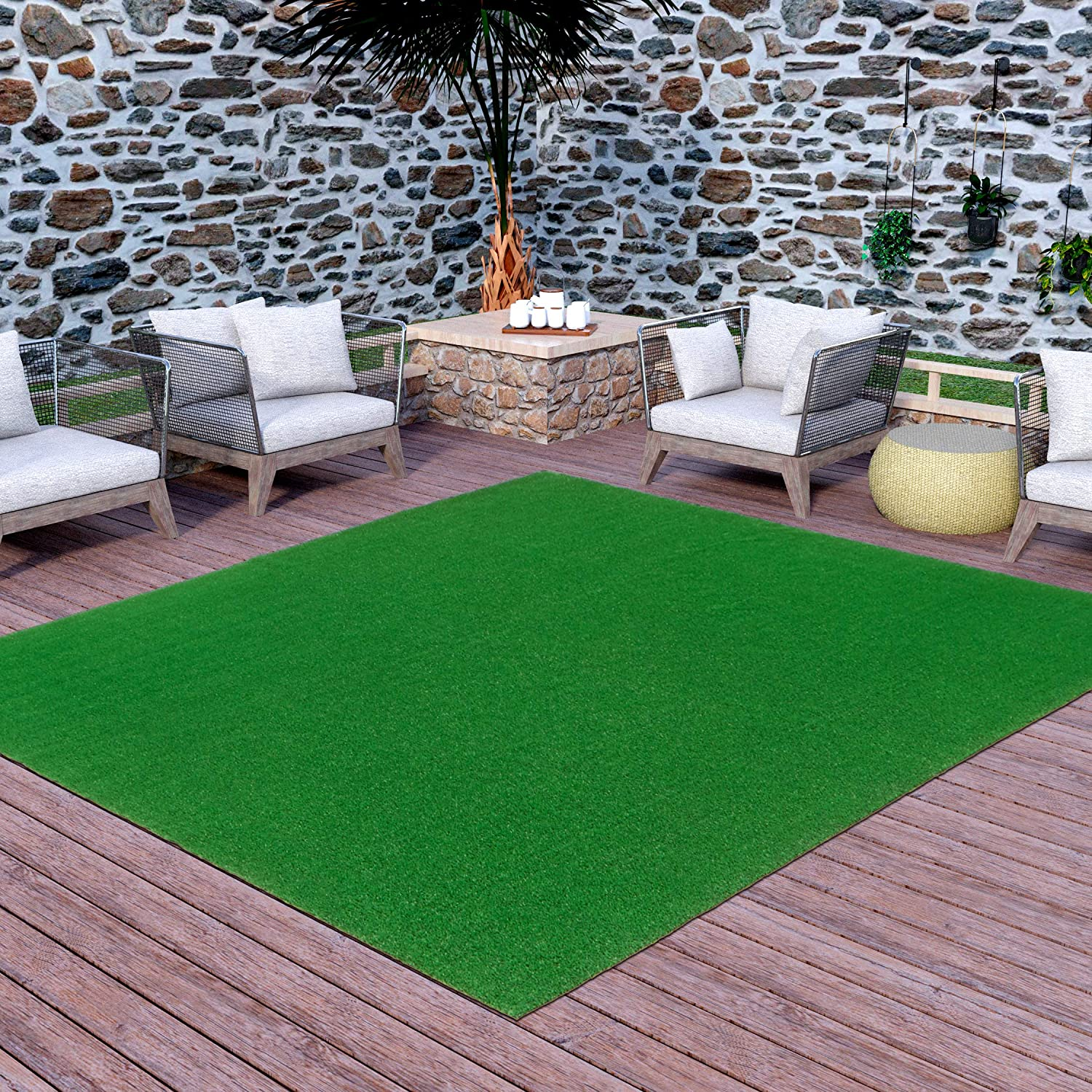 Ottomanson Evergreen Artificial Turf & Fake Grass Rug
