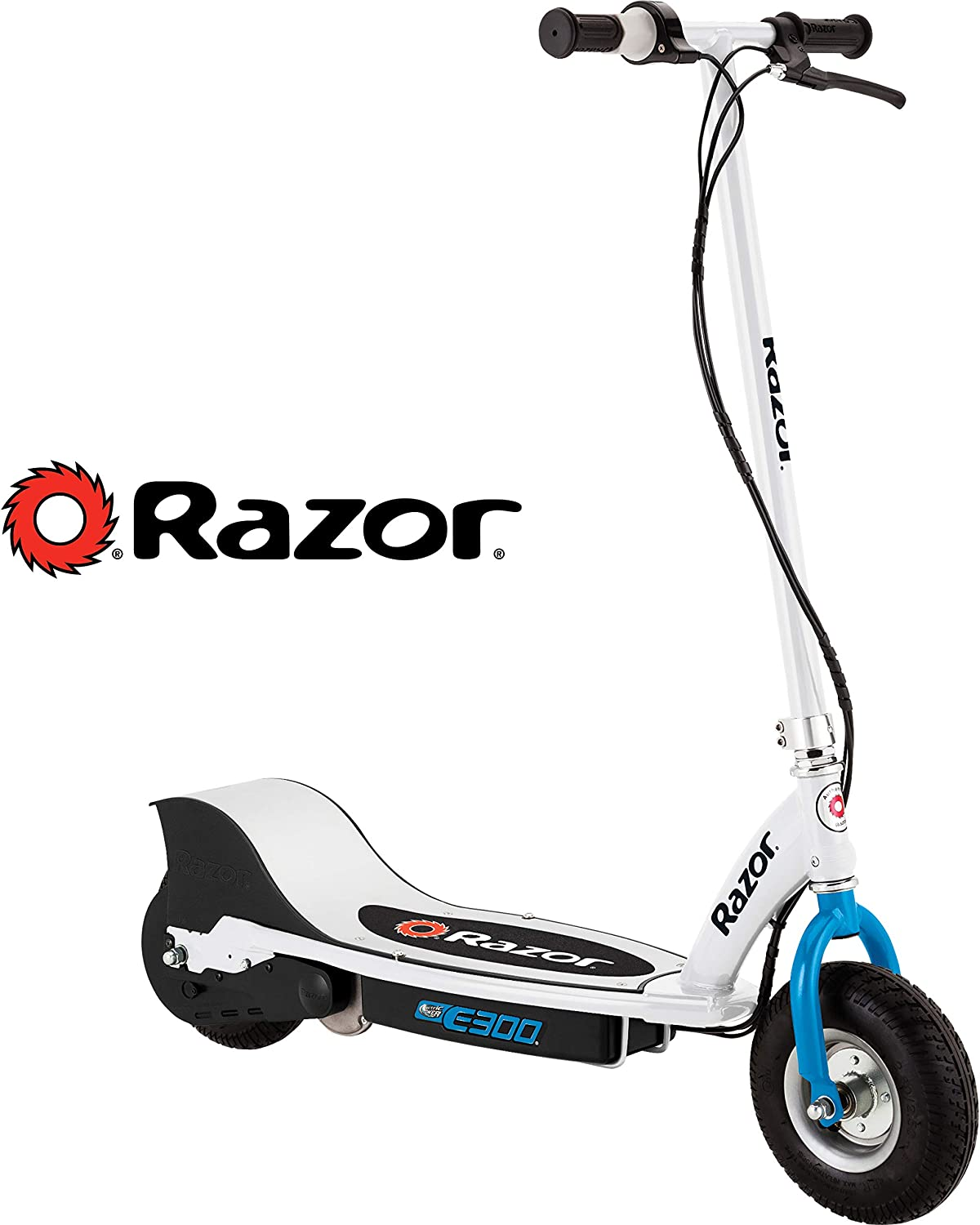 Razor E300 White & Blue Electric Scooter