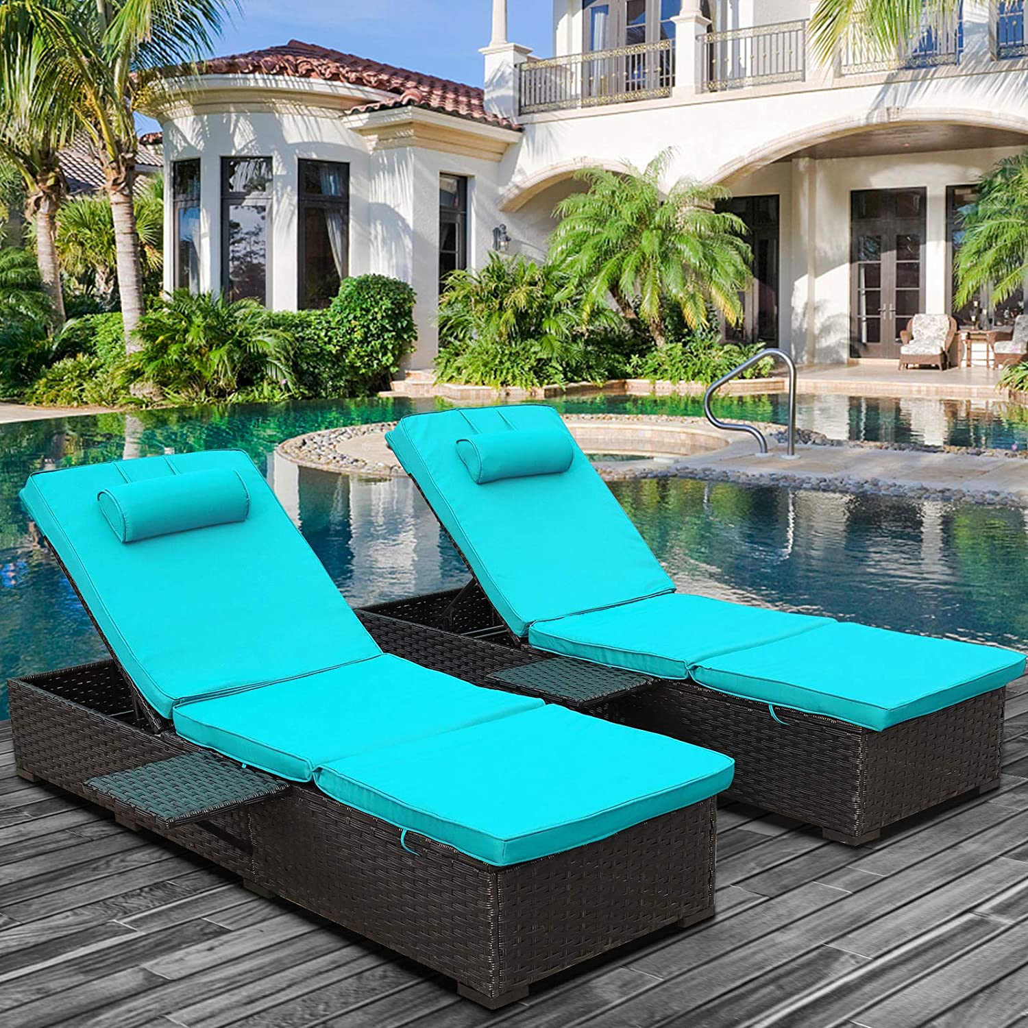 WAROOM Outdoor PE Wicker Patio Chaise Lounge, 2-Pack