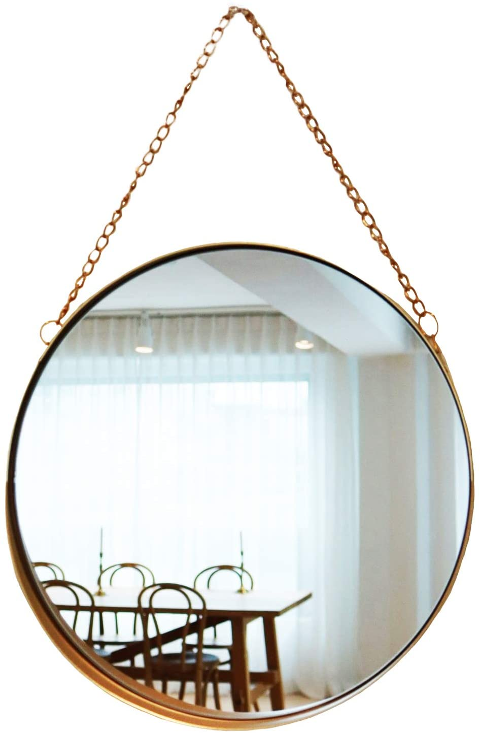 April Box Round Gold Metallic Wall Mirror, 10-Inch
