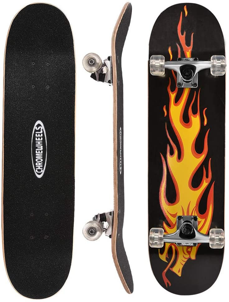 ChromeWheels Yellow Flame Design Skateboard, 31-Inch