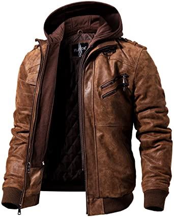 FLAVOR Men's Hooded Brown Leather Motorcycle Jacket