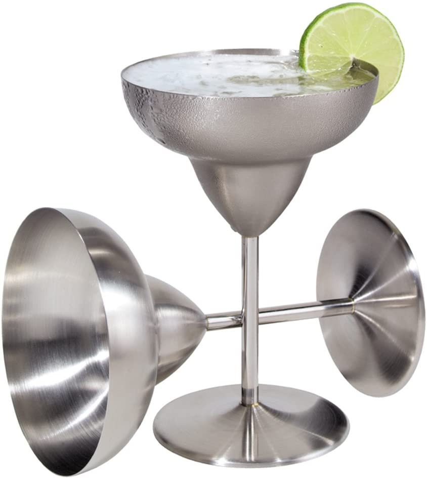 Oggi Stainless Steel Margarita Glass, 2-Pack