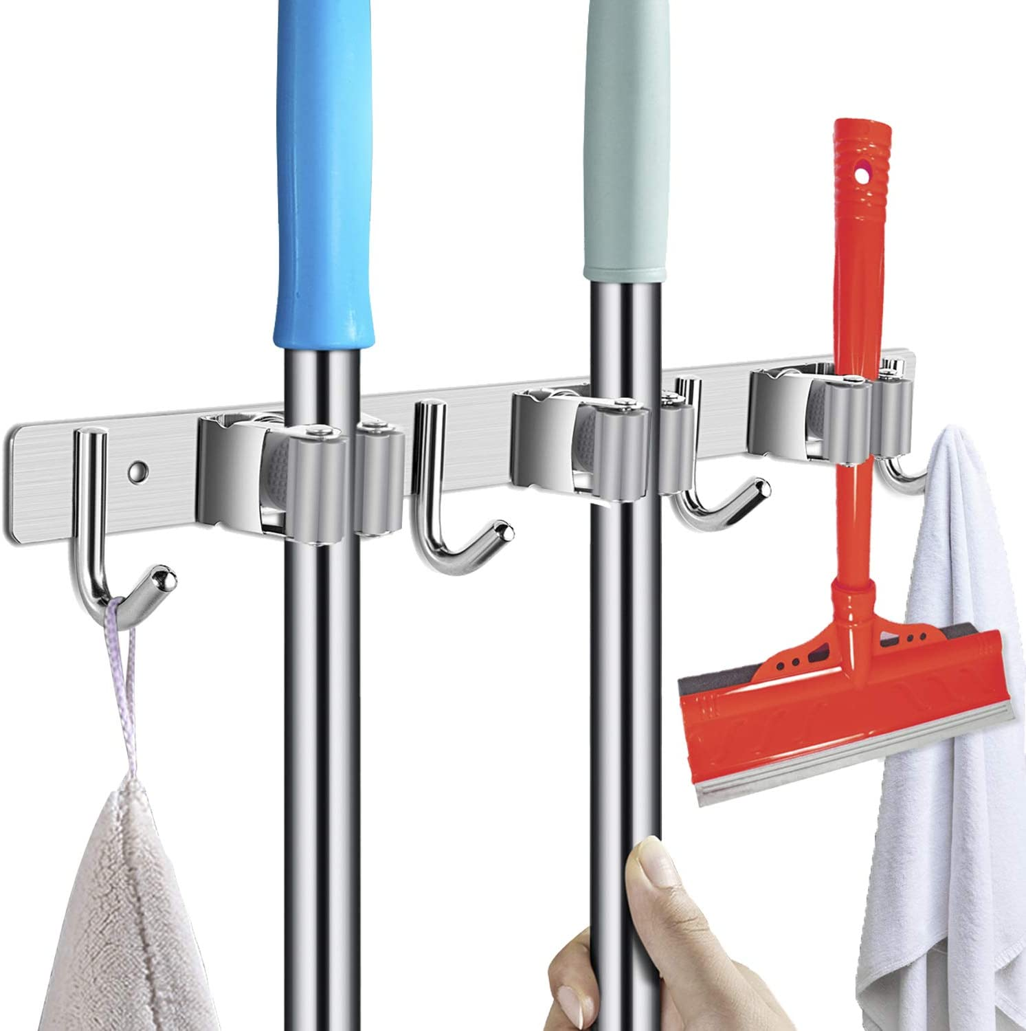 POPRUN Stainless Steel Wall Mount Broom Holder