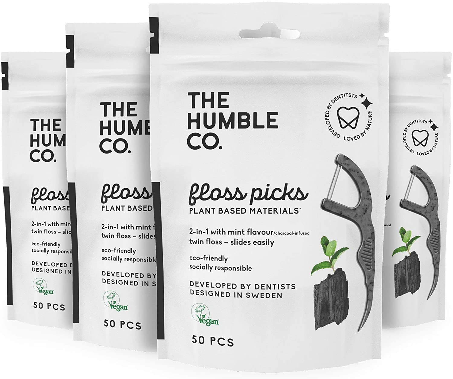 The Humble Co. Natural Vegan Tooth Floss Picks, 200-Count