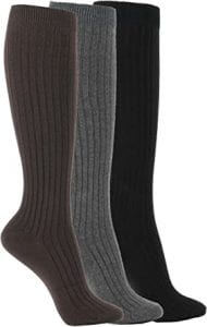 WOWFOOT Cotton Cable Knee High Socks For Women