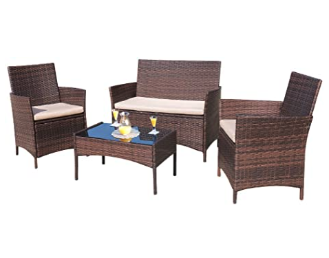 Homall Outdoor Wicker Furniture Set, 4-Piece