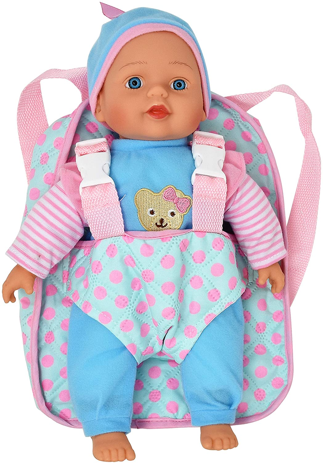 Dolls To Play Soft Baby Doll & Backpack Carrier, 13-Inch