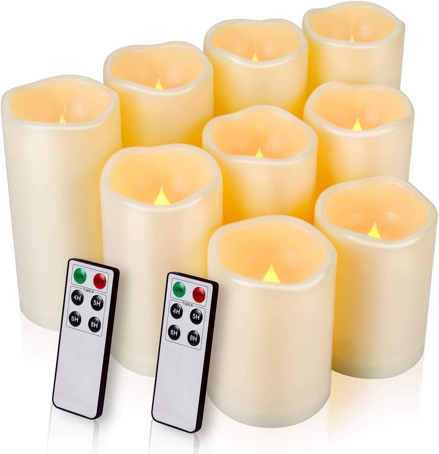 Enido Flameless Remote Battery Operated Candles, 9-Pack
