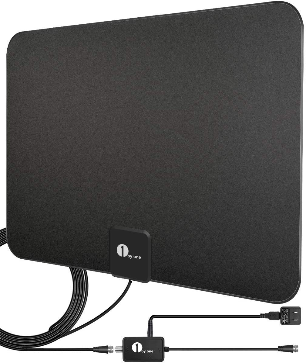 1byone Amplified Black HD Digital TV Antenna, 200-Mile Range