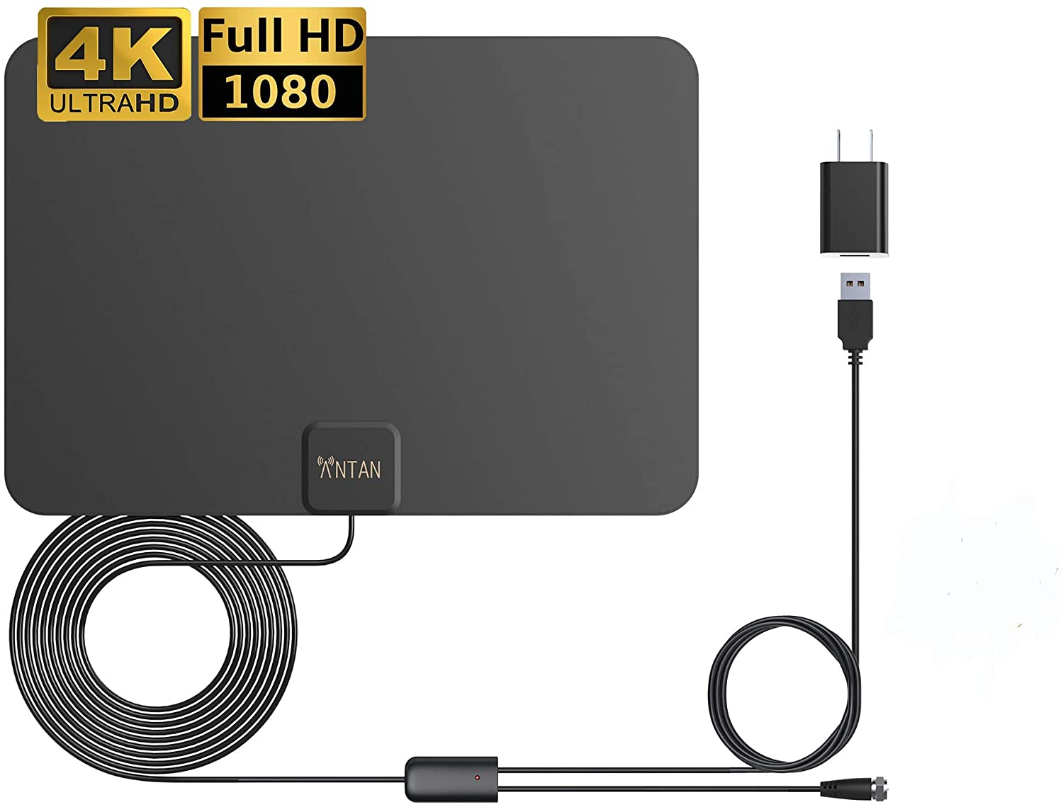 ANTAN Indoor Amplified HD TV Antenna, 65-Mile Range