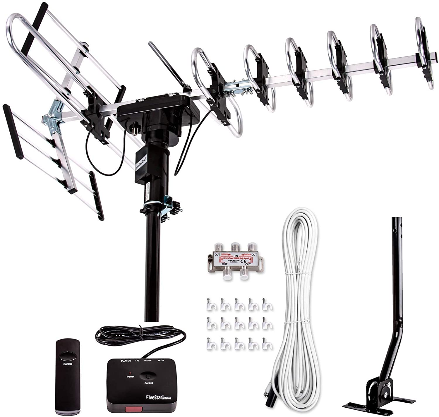 Five Star Outdoor Digital Amplified HDTV Antenna, 200-Mile Range