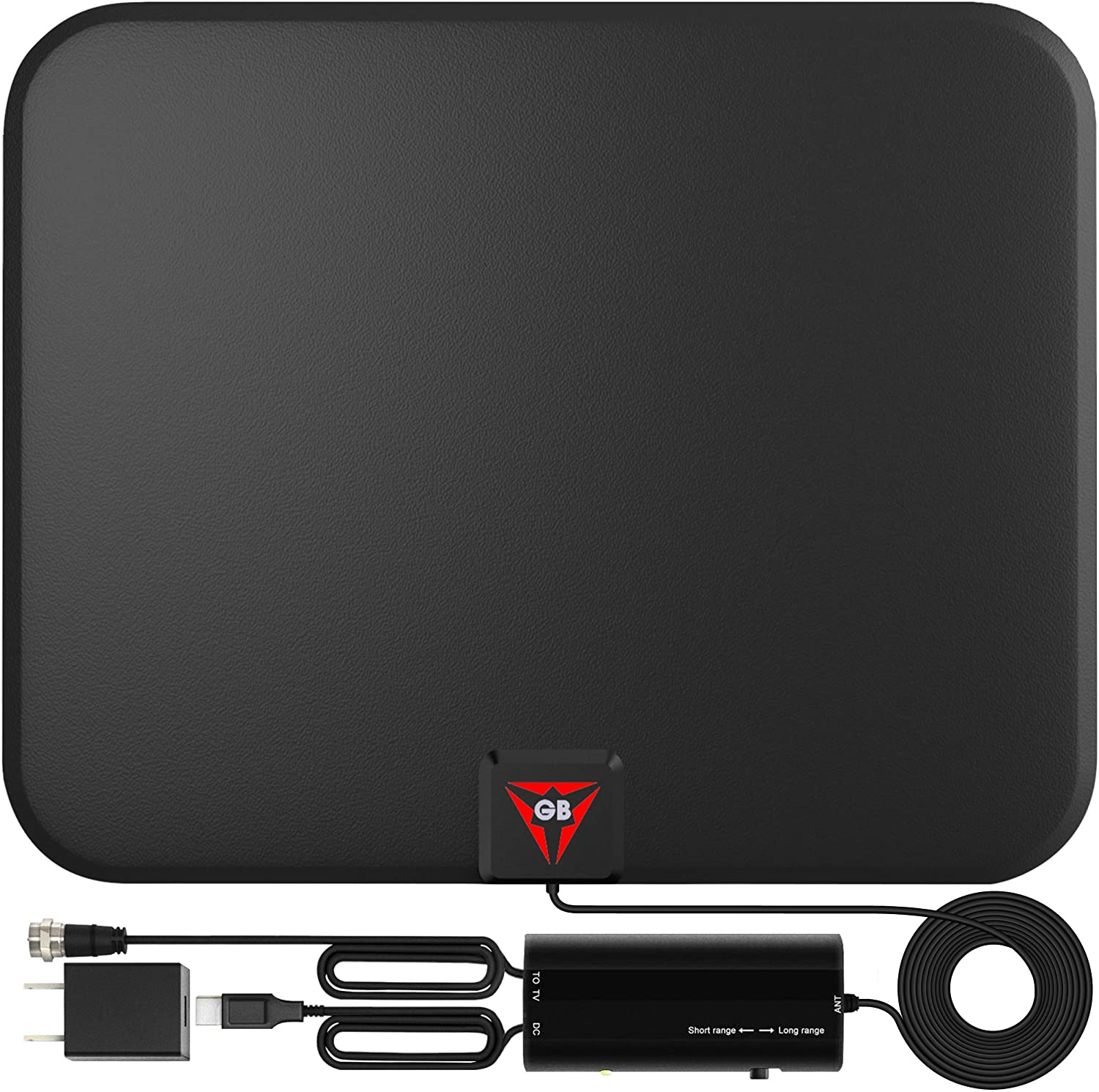 Gesobyte Smart Switch Amplified HD Digital TV Antenna, 180-Mile Range