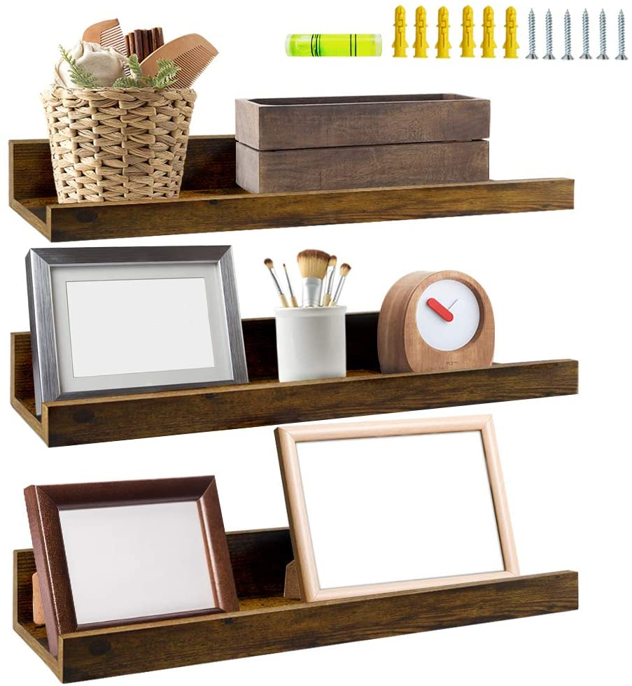 Giftgarden 16-Inch Rustic Floating Shelf, 3-Pack