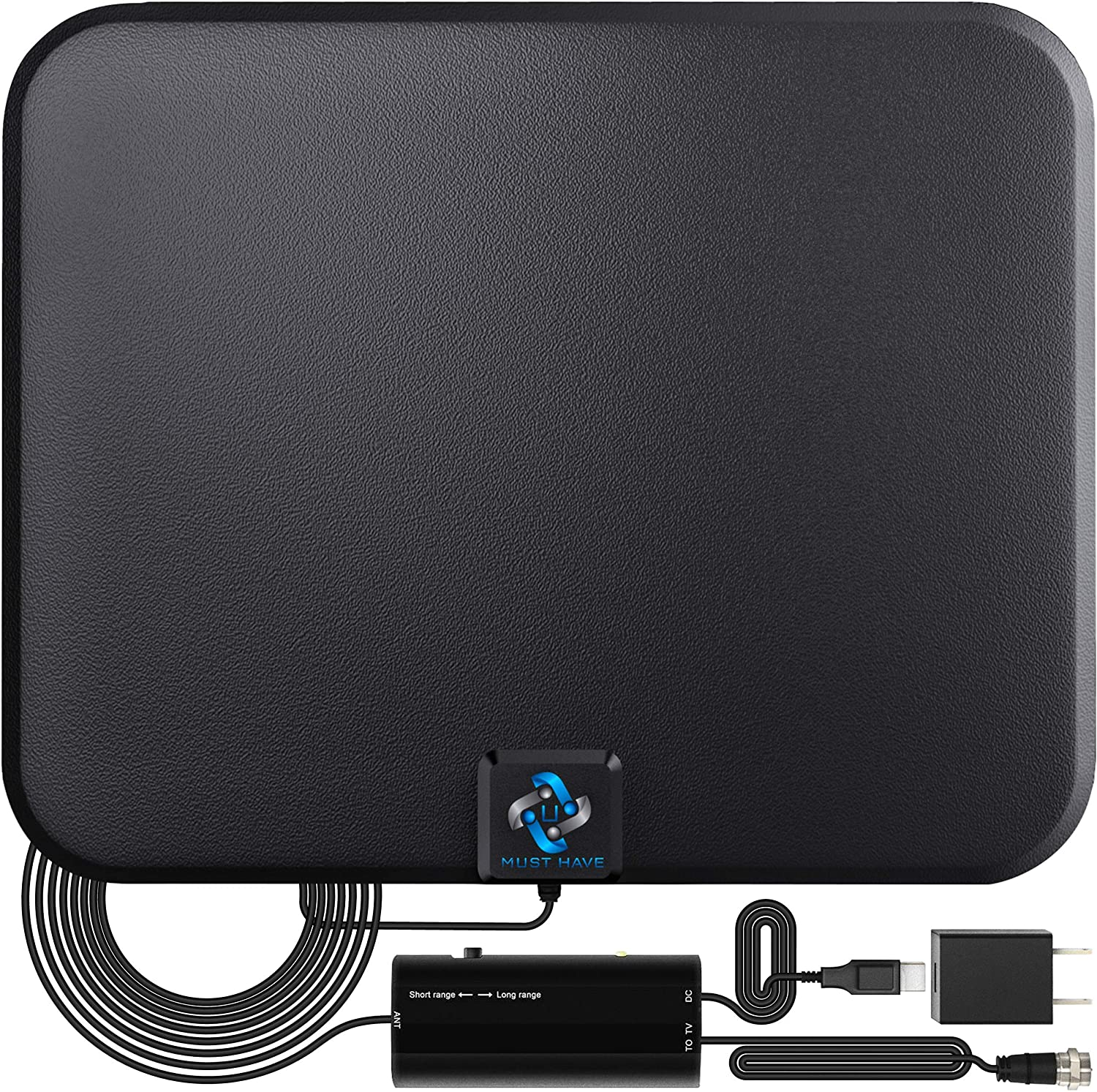 U MUST HAVE Amplified Indoor HD Digital TV Antenna, 180-Mile Range