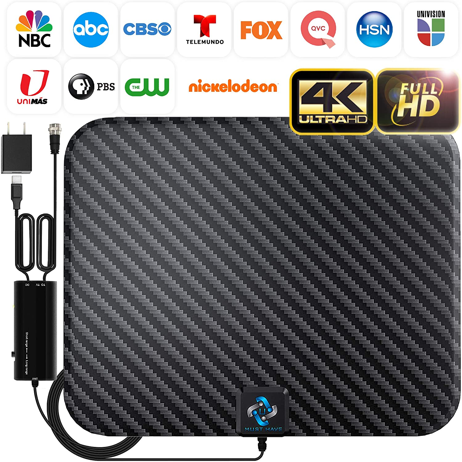 U MUST HAVE Amplified Indoor Smart Switch HD Digital TV Antenna, 250-Mile Range