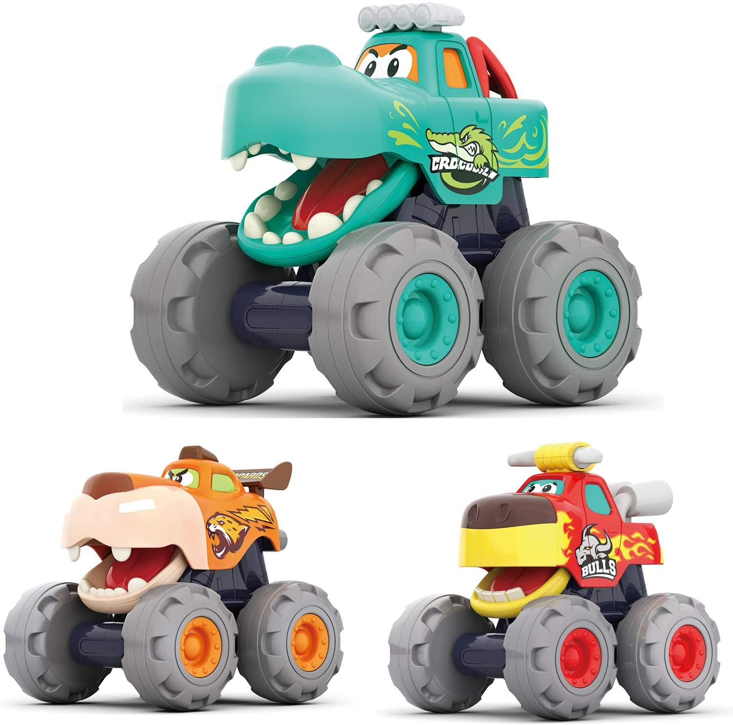 MOONTOY Friction Powered Trucks For 2-Year-Old-Boys