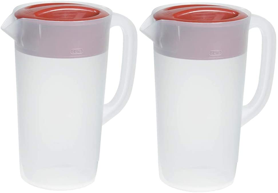 RUBBERMAID 2.25-Quart Covered Plastic Pitcher, 2-Pack
