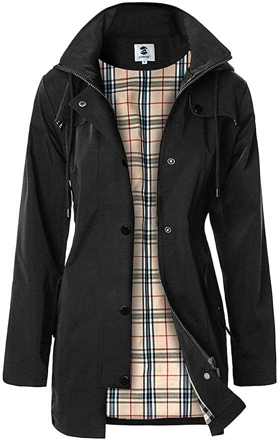 SaphiRose Women's Long Hooded Rain Jacket