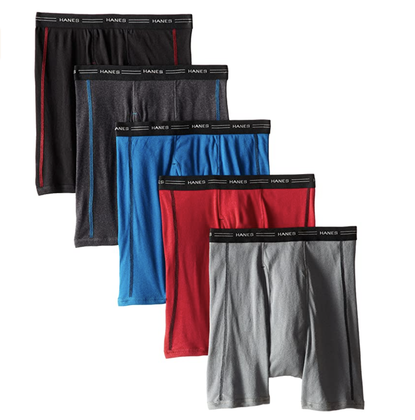 Hanes Men's Sports-Inspired Cool Dri Boxer Brief, 5-Pack