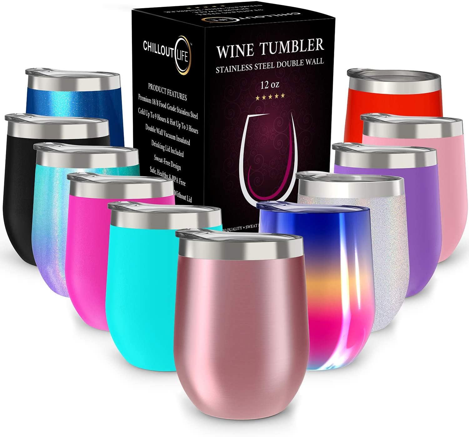 CHILLOUT LIFE 12-Ounce Stainless Steel Wine Tumbler With Lid
