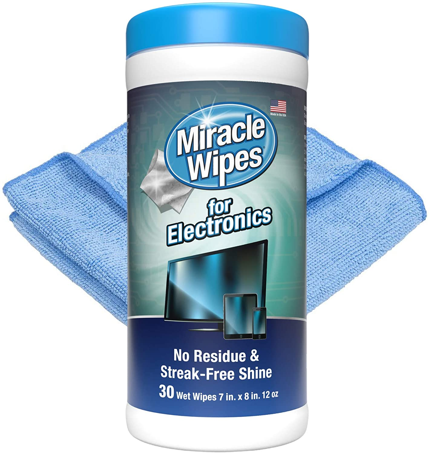 MiracleWipes Streak-Free Screen Cleaning Wipes, 30-Count