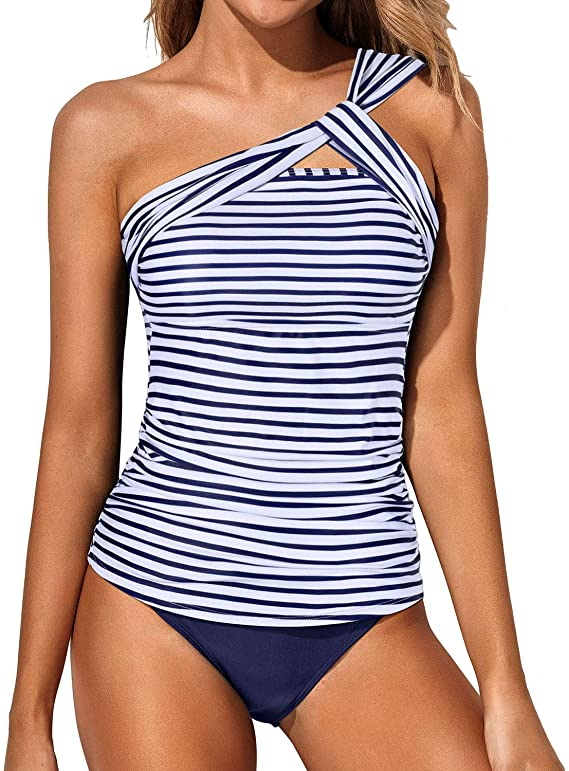 Tempt Me Women's Tankini Ruched One Shoulder Tummy Control Top Swimsuit