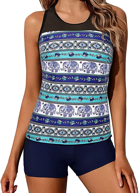 Yonique Tankini Swimsuit & Athletic Shorts For Women