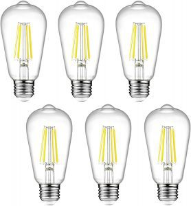 Ascher Vintage Daylight White Dimmable LED Edison Bulbs, 6-Pack