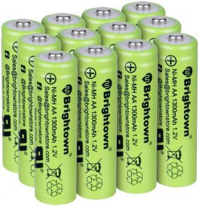 Brightown 1.2V Rechargeable NiMH AA Batteries, 12-Pack