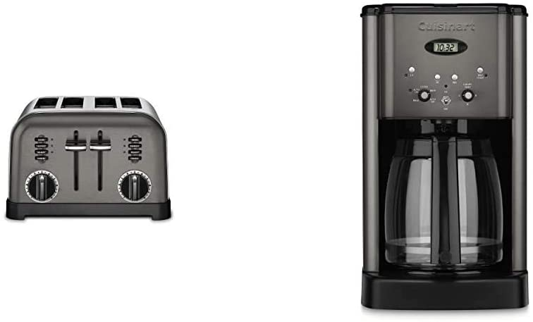 Cuisinart DCC-1200BKS 12-Cup Brew Central Coffeemaker & CPT-180BKS Metal Classic Toaster, 4-Slice