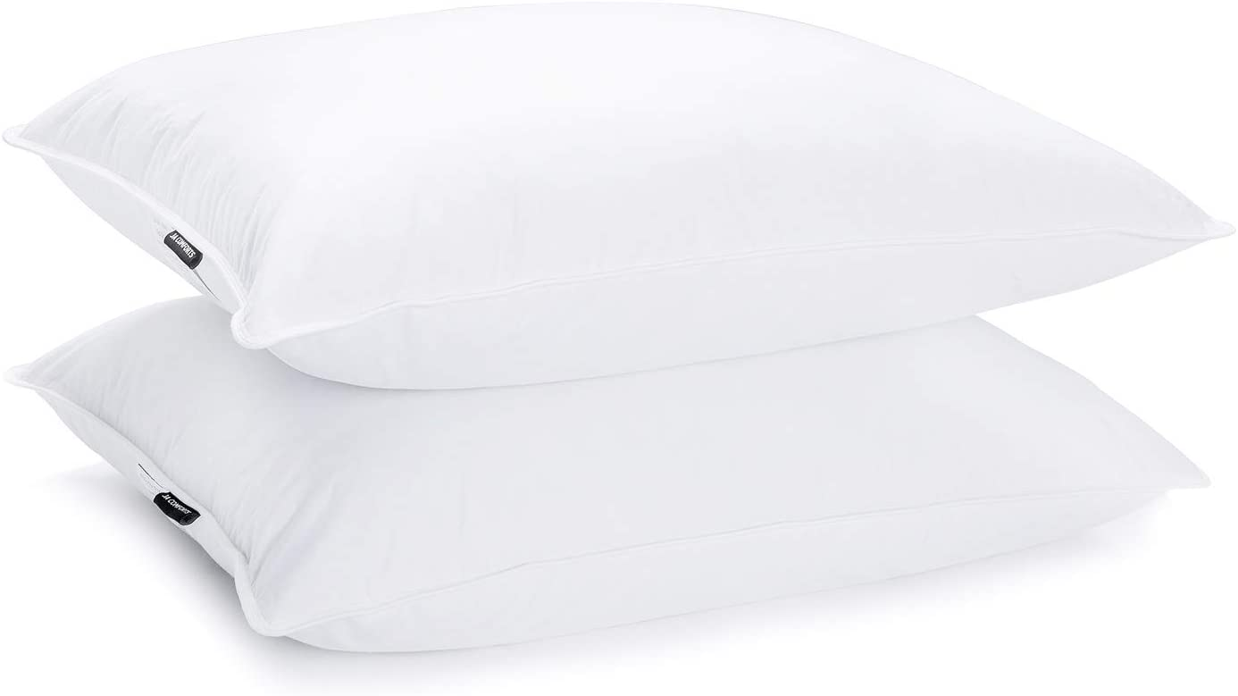 JA COMFORTS Duck Feather Down Pillows, 2-Pack