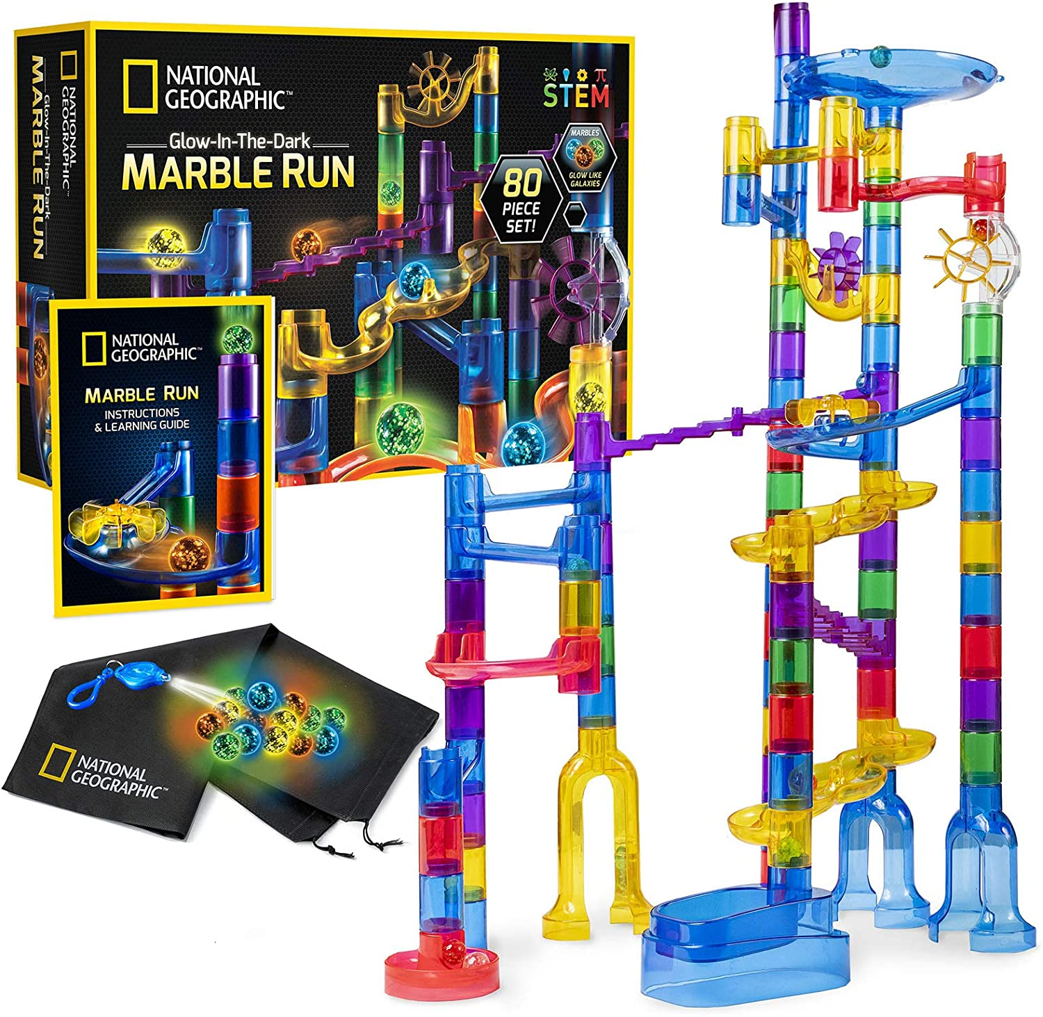 NATIONAL GEOGRAPHIC Glow-In-The-Dark Marble Run, 80-Piece