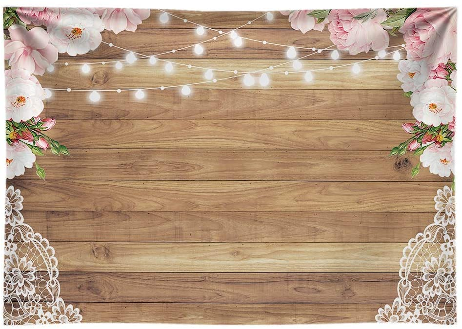 Funnytree Lace & Wood Floral Photo Backdrop, 7-Foot x 5-Foot