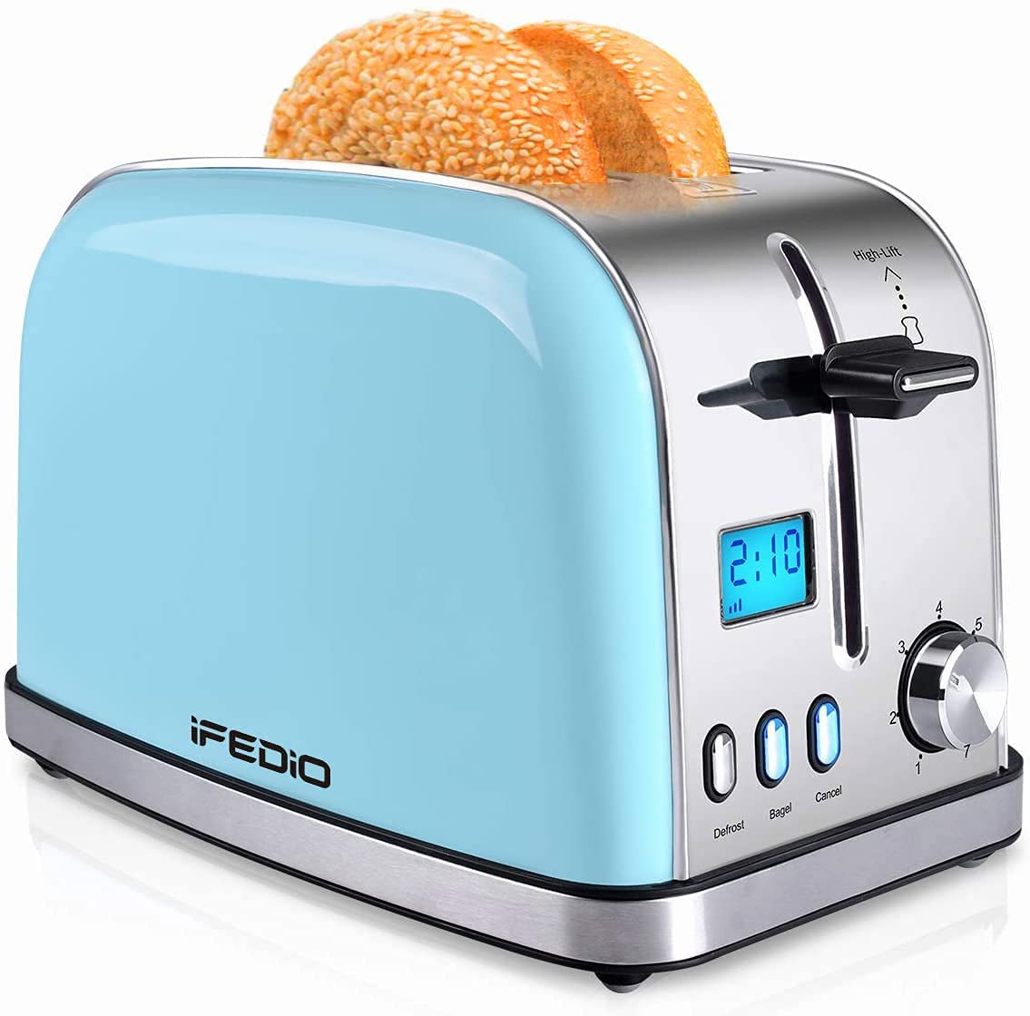 iFedio Compact LCD Display Pop-Up Toaster, 2-Slice