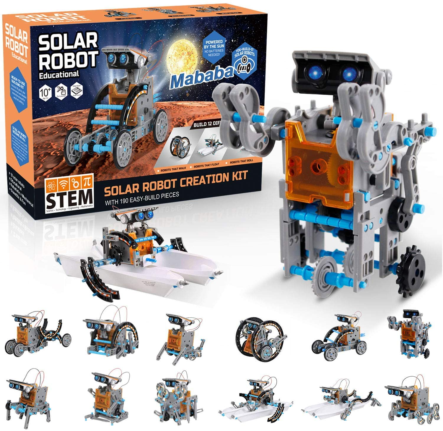 mababa STEM 12-In-1 Solar Powered Robot Kit, 190-Piece