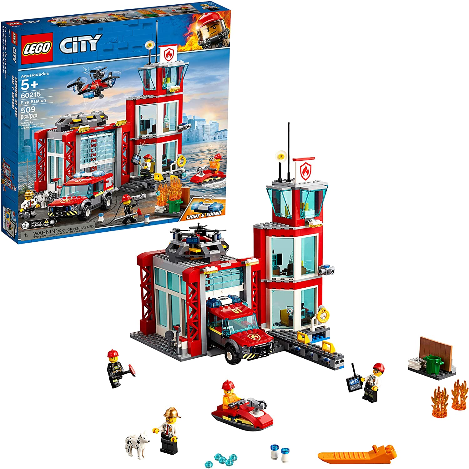 LEGO Fire Station With Vehicle City Sets, 509-Piece